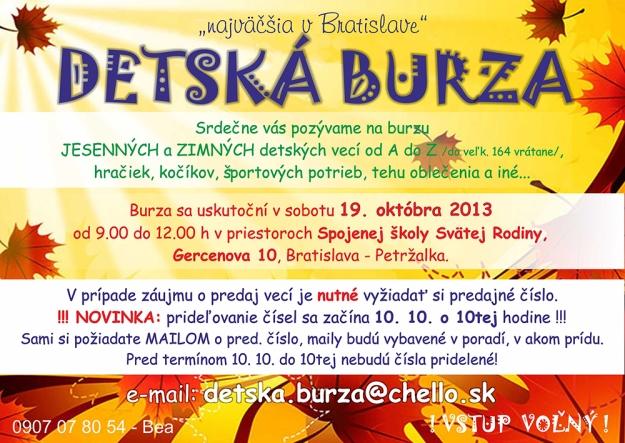 e03e77151847 Najväčšia detská burza vypukne už v 19. októbra 2013 v priestoroch  Základnej školy Svätej Rodiny